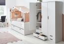 Coolkids Bedbank met hut en driedeurs kledingkast